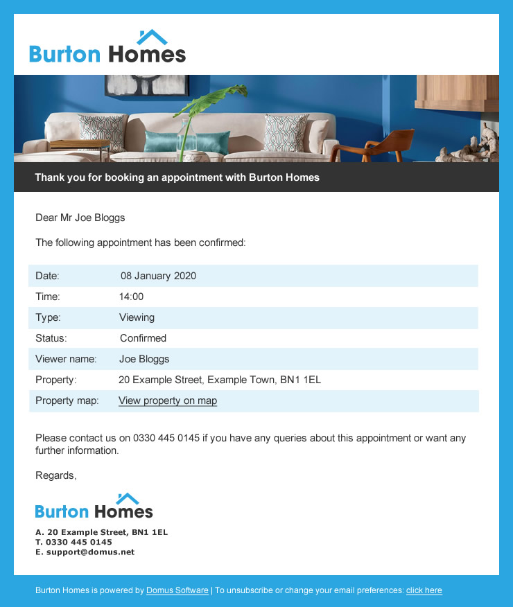 Burton Homes Confirmation Email